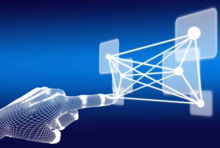 3d wireframe hand push button on blue background Stock Photo - 15844510