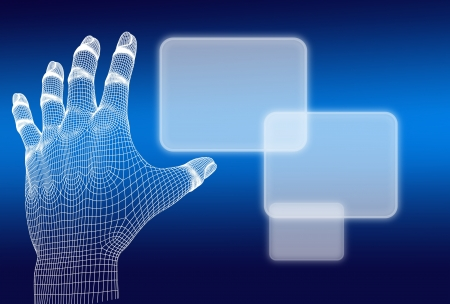 3d wireframe hand push button on blue background Stock Photo - 15841673