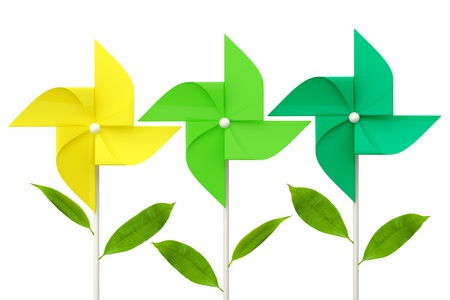 spinner: toy pinwheel with green leafs on white background