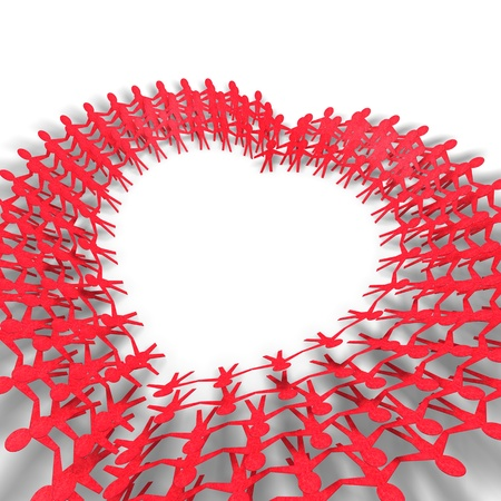 red people in heart shape on white background  photo