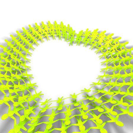 sociedade: Pessoas verdes em formato de coração no fundo branco