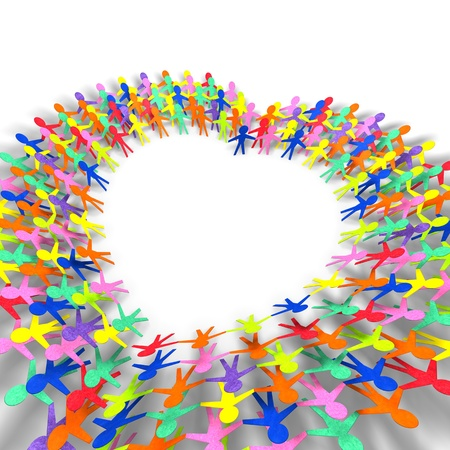 colorful people in heart shape on white background  Stock Photo