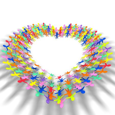 love image: colorful people in heart shape on white background  Stock Photo