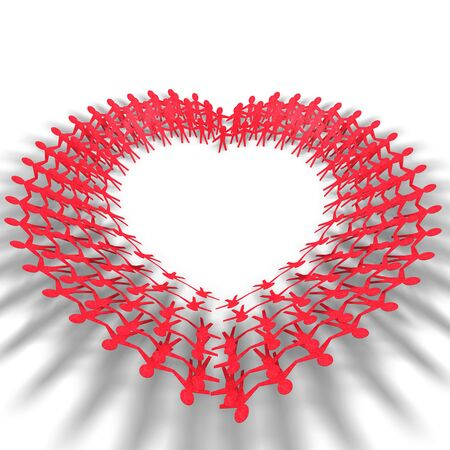red people in heart shape on white background