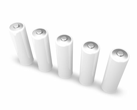five white aa batteries on white photo