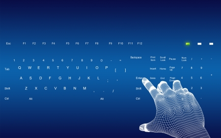 alt: 3d wire-frame hands typing on a blue keyboard  Stock Photo