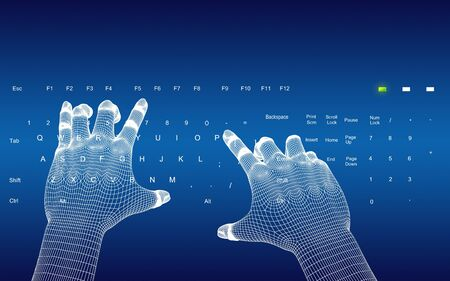 programing: 3d wire-frame hands typing on a blue keyboard  Stock Photo