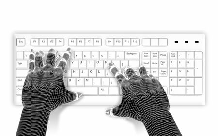 programing: 3d wire-frame hands typing on a white keyboard