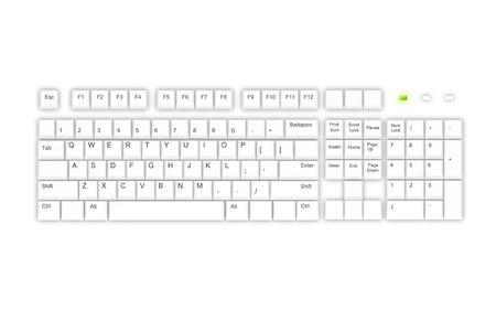 White keyboard on white background