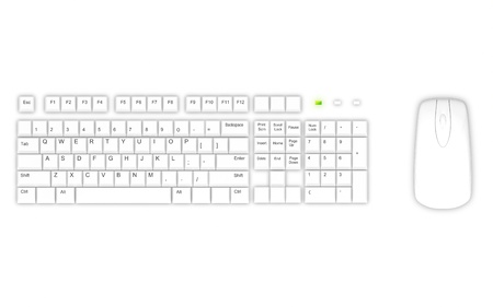 White keyboard and mouse on white background