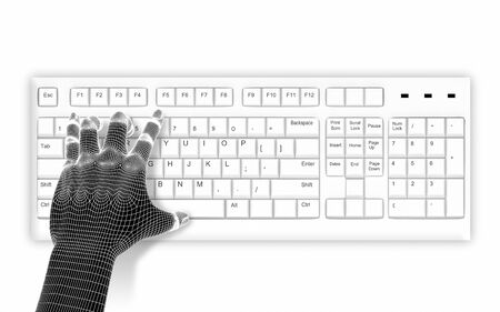 alt: 3d wire-frame hands typing on a white keyboard