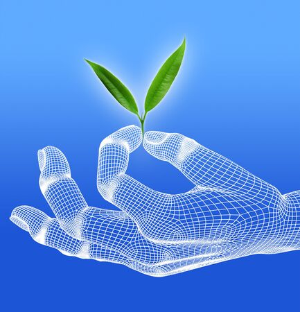 eco with 3d hand render wireframe on blue background Stock Photo - 16050914