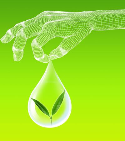 eco with 3d hand render wire frame on green background Stock Photo - 16050851