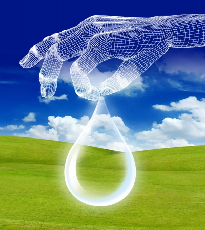 eco with 3d hand render wireframe on green grass and blue sky Stock Photo - 16050951