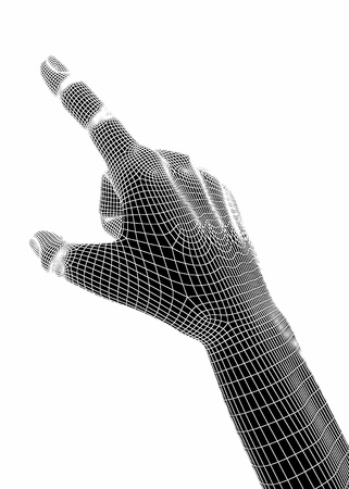 wireframe: 3d hands isolate on white background