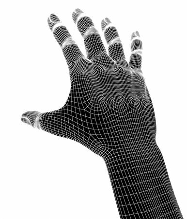 touching hands: 3d hands isolate on white background