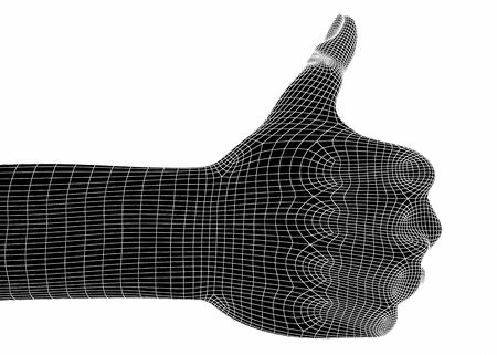 thumb x ray: 3d hands isolate on white background