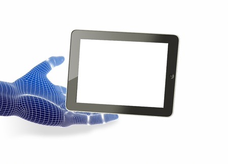 Hand holding tablet pc with touching hand   Stock Photo - 16050845