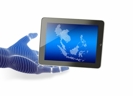 Hand holding tablet with touching hand