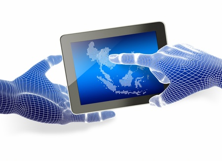 Hand holding tablet with touching hand Stock Photo - 16050928