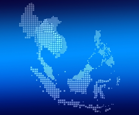 southeast asia: AEC Map and network on blue background