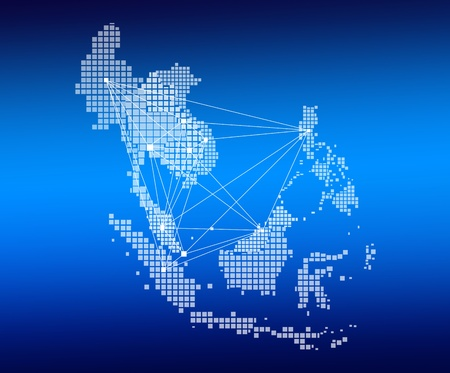 asean: AEC Map and network on blue background