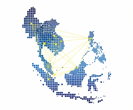 map of asia: AEC Map and network on white background