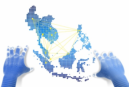 Hands touch ASEAN map network   photo