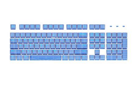 programing: Blue Keyboard on white background