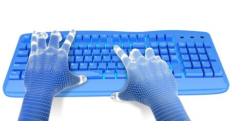 programing: 3dwire-frame hands typing on a blue keyboard