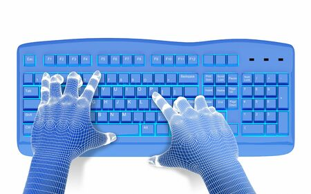 3dwire-frame hands typing on a blue keyboard