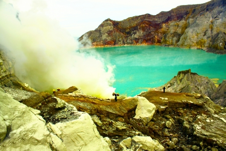 Crater of volcano Khava Ijen, Sulfur mine in Java Island Indonesia   photo