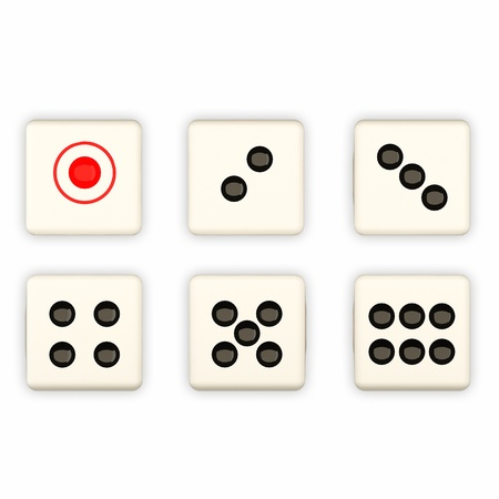 3 4: Dice showing 1, 2, 3, 4, 5, and 6 dots isolated on white   Stock Photo