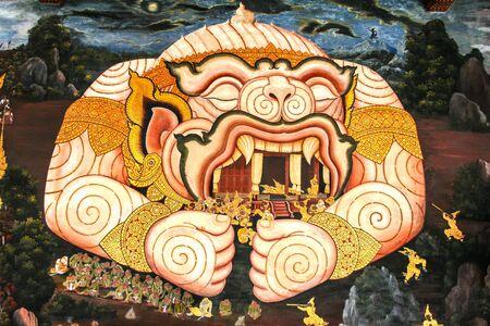 hanuman: Hanuman with the tabernacle painting in temple of Emerald Buddha
