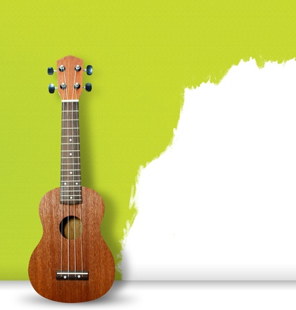 acoustic ukulele: Ukulele on green wall background
