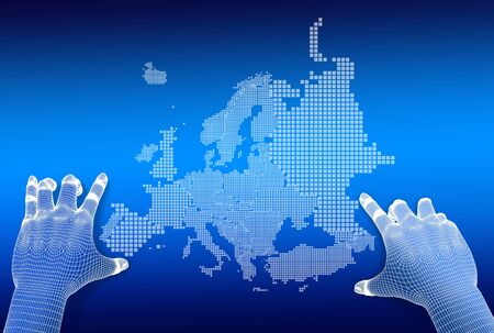 3d Finger touch on display Euro Map on blue background
