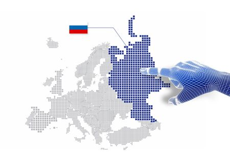 3d Finger touch on display Russian map and flag