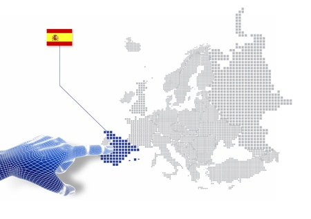 3d Finger touch on display Spain map and flag