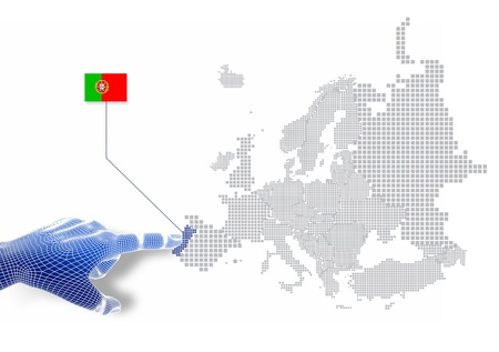 3d Finger touch on display Portugal map and flag   Stock Photo