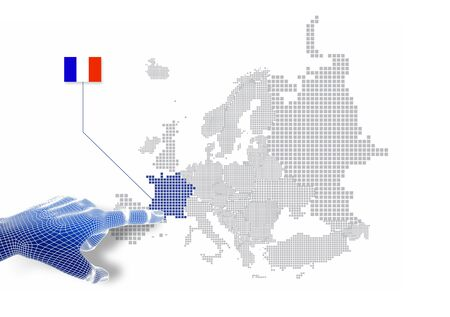 3d Finger touch on display France map and flag