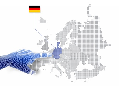 3d Finger touch on display German map and flag   Stock Photo