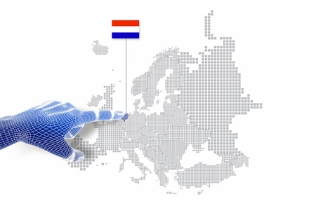 3d Finger touch on display Holland map and flag