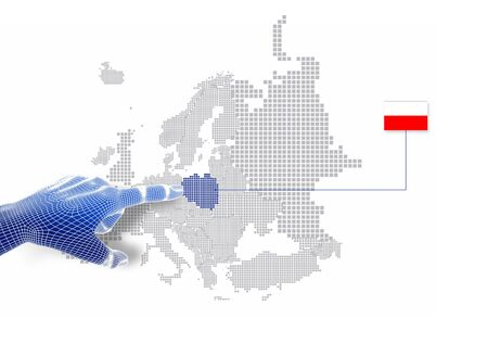 3d Finger touch on display Poland map and flag   Stock Photo