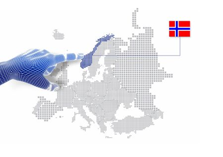 3d Finger touch on display Norway map and flag   Stock Photo