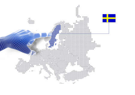 3d Finger touch on display Sweden map and flag