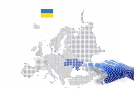3d Finger touch on display Ukraine map and flag
