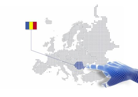 3d Finger touch on display Romania map and flag