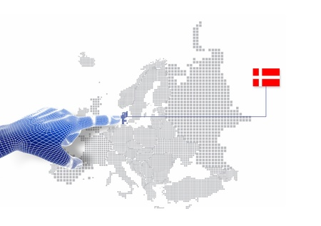 3d Finger touch on display Denmark map and flag