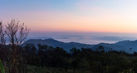 Tourist attraction Within Phu Soi Dao National Park With pines, meadows, mountains and the evening sun.