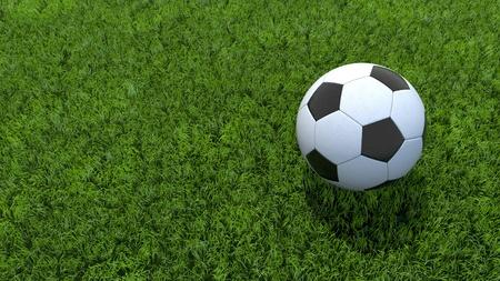 futbol soccer: Soccer Ball Football On Grass 3D render